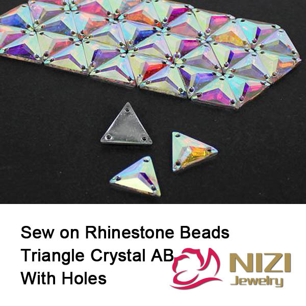 Beads 16mm 22mm Triangle Flatback Resin Beads High Shine Sewing DIY Beads For Garment Accessory Sew On Crystal Beads crystal beads 12mm 16mm 22mm sew on triangle glass beads flatback sewing diy beads with 3 holes for garment
