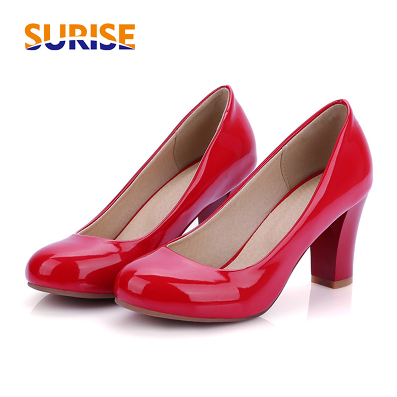 Big Size Spring Women Pumps Thick Block High Heel Patent Leather Round Toe Autumn Office Dress Party Bridal Red Lady Shoes yalnn new women s high heels pumps sexy bride party thick heel round toe leather high heel shoes for office lady women