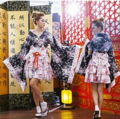 free shipping 2015 Halloween New Arrival Heavy Sakura Co-splay Anime Outfit Japanese Kimono Maid Dress S M L XL