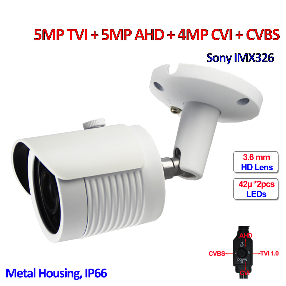 5MP TVI AHD 4MP CVI surveillance cameras IMX326 CMOS 4in1 IP66 Security camera, IR CUT, DNR, UTC, OSD, HD Lens, SMD IR LED, CVBS ahd m l video camera security 1 0mp sensor 720p cmos hd analog 960h camara vigilancia vandalproof 24pcs led osd hd lens ir cut