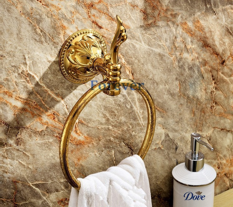 ФОТО Free Shipping wall mount Towel Ring/Towel Holder,towel rack Solid Brass Construction,Golden finish LG004