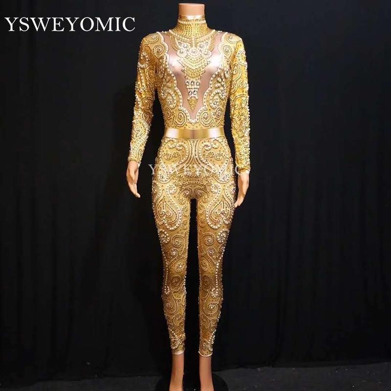 2019 femmes Sexy strass body scène tenue femme chanteuse or Leggings discothèque Nude cristaux Costume danse combinaison
