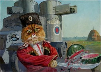 Soviet Cat Soldier Chop the Watermelon Illustration Classic Wall Stickers Decorative Vintage Poster Home Bar Decor Gift Солдат