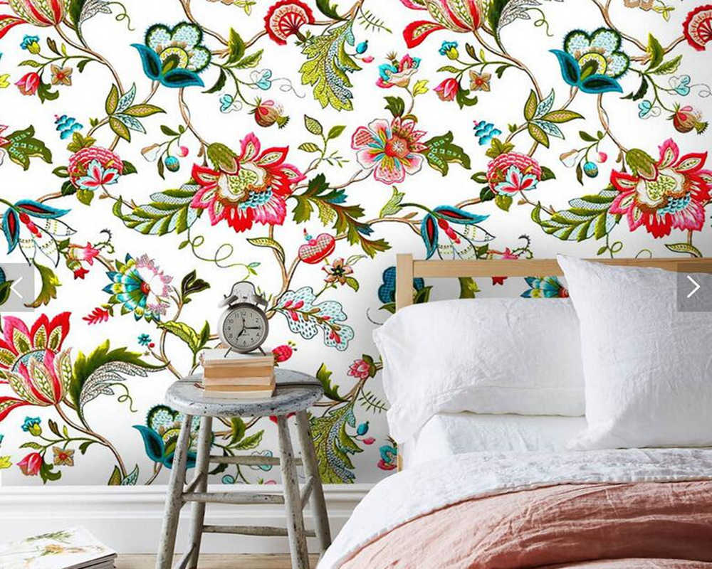 Custom Floral Wallpaper European Plant Flowers Cluster Murals For