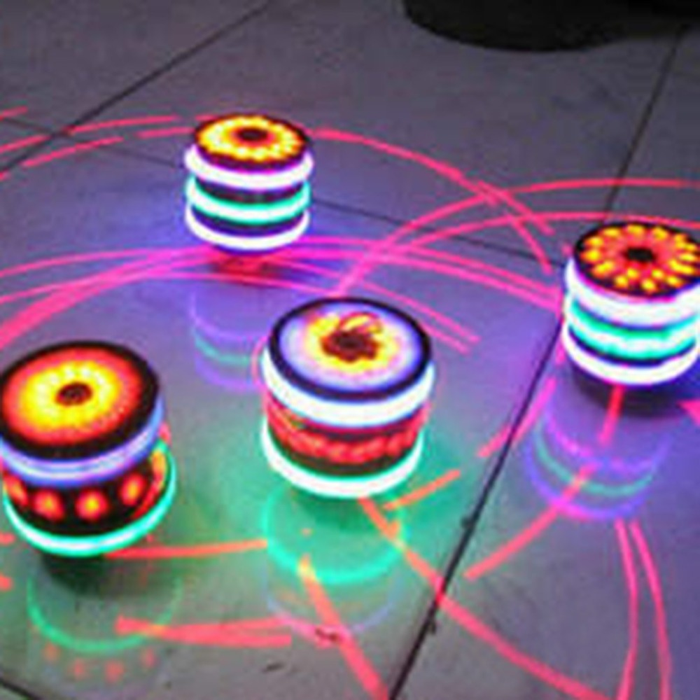 Seven LED Lights Wooden Laser Spinner Fidget Peg Top Hand Spinner Flashing Light Up Children Spinning Desktop Toys(China)
