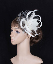 Feather flower millinery hat DIY FASCINATOR WEDDING PARTY women pillbox hats with veils bridal hair accessories