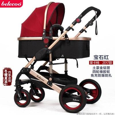Belecoo Высокая Пейзаж Роскошная детская коляска 0-36 месяцев коляска надувной натуральный каучук колеса детская коляска - Цвет: Ruby red