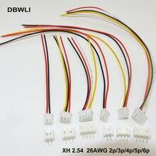 10 комплектов XH2.54 XH 2,54 мм кабельный разъем 2/3/4/5/6P контактный разъем с 80 мм 100 мм 150 мм 200 мм провода кабели 26AWG