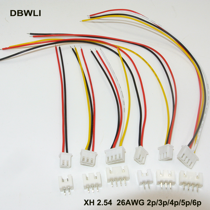 10Sets XH2.54 XH 2.54mm Wire Cable Connector 2/3/4/5/6P Pin Connector Plug With 80mm 100mm 150mm 200mm Wires Cables 26AWG