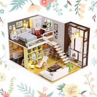 Miniature Doll House Modern City Room DIY Unisex Wooden Dollhouse With Furnitures Crafts Adult Teenager Toys Model Building Kits