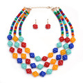European Multilayer Colorful Beads Choker Necklace Women Maxi Necklace Jewelry CJY
