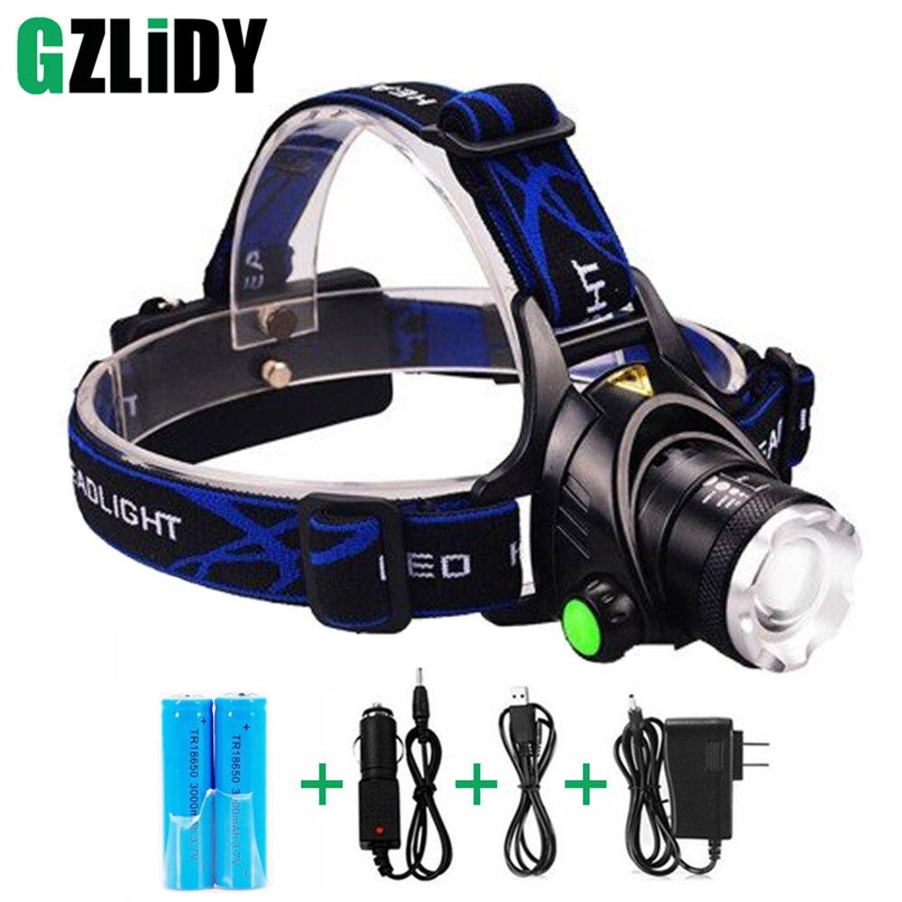 RU 5000LM Cree XML-L2 XM-L T6 Led del faro de Zoomable impermeable linterna cabeza lámpara pesca caza Luz