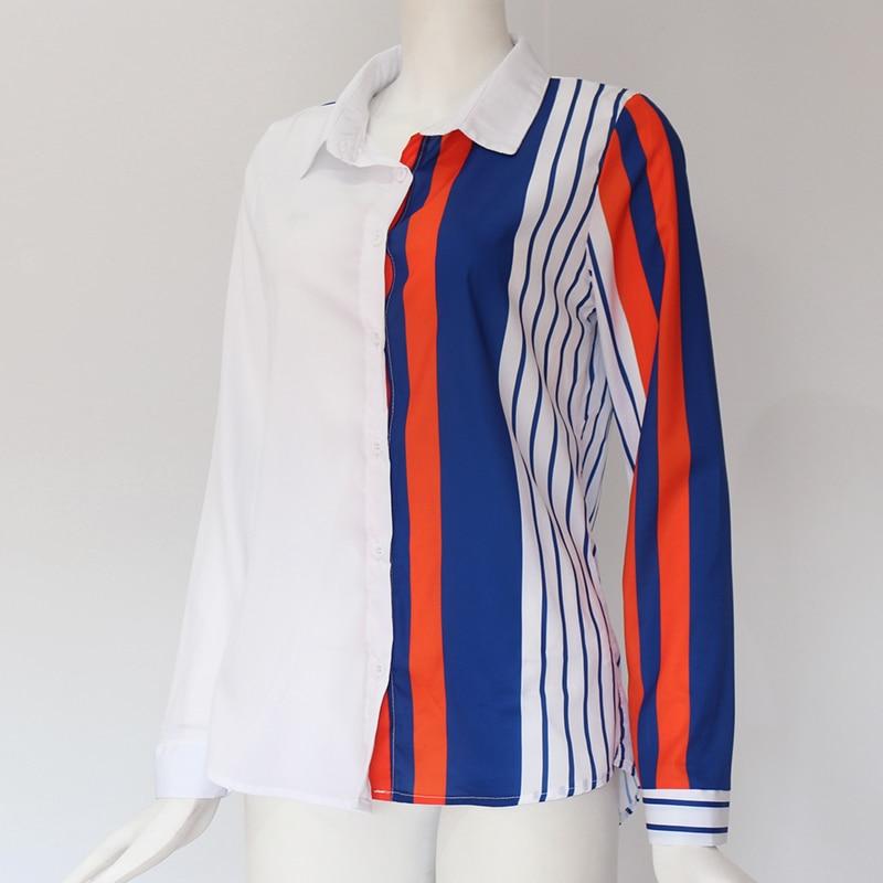 Women Blouses Fashion Long Sleeve Turn Down Collar Office Shirt Leisure Blouse Shirt Casual Tops 39