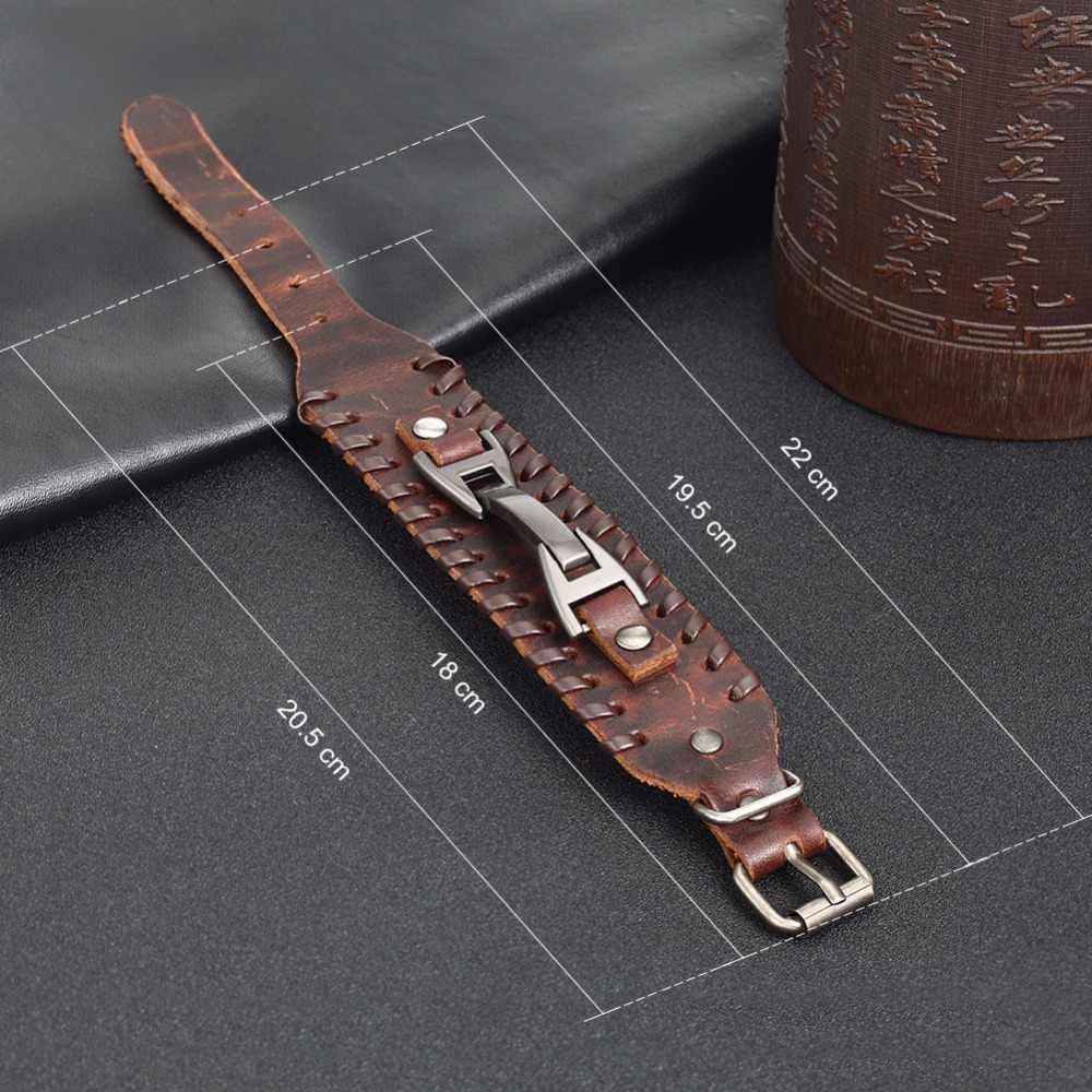 BAMOER w stylu Vintage Punk bransoletki ze skóry 2 kolor czarny i brązowy moda zapięcie wielowarstwowe plecionka bransoletka dla mężczyzn biżuteria PI0339-1