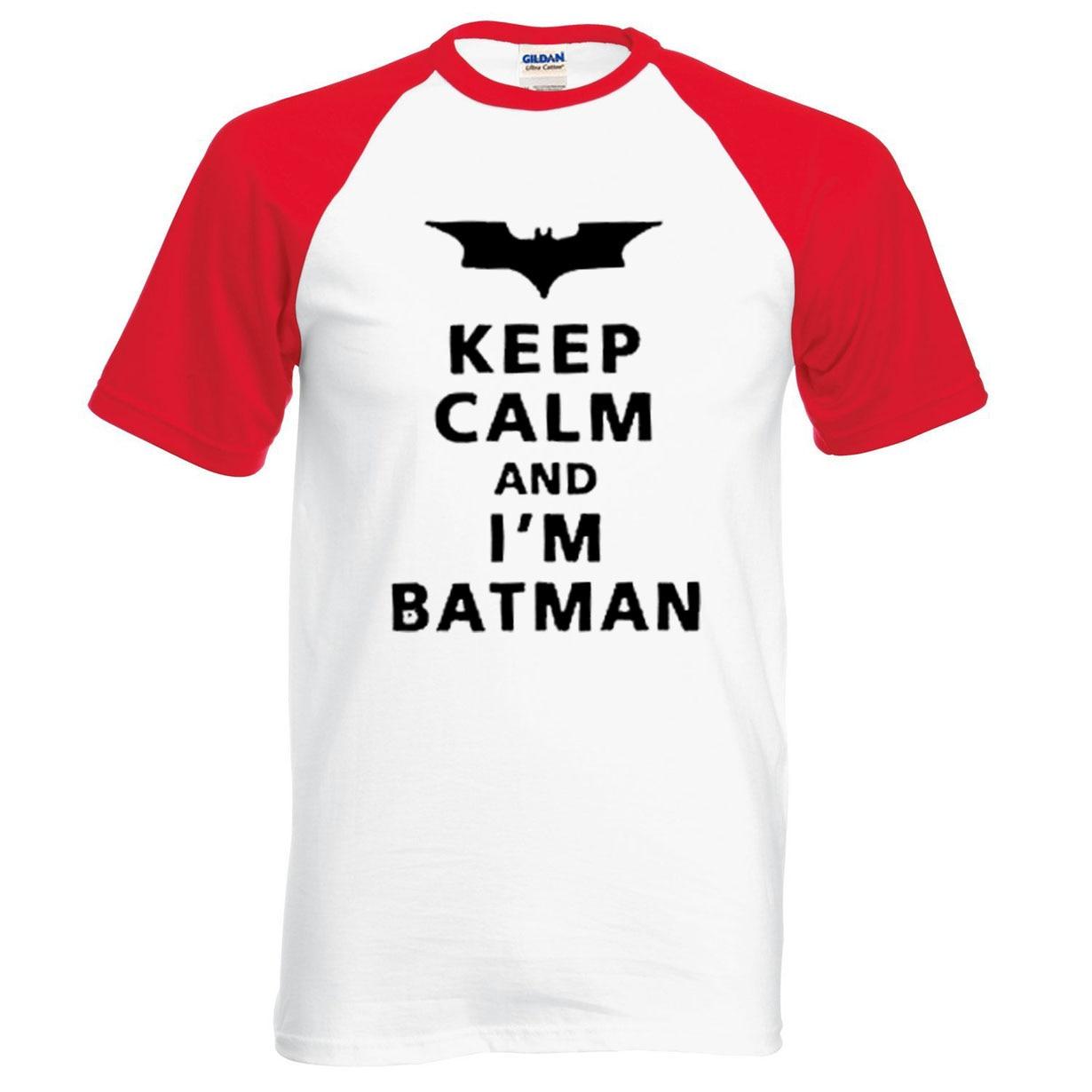 Batman T Shirts Men Keep Calm I Am Batman 2019 new summer 100% cotton raglan men t-shirt casual short sleeve o-neck top tees