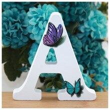 1 unidad 10X10cm hecho a mano animales forma mariposa de boda letras de madera alfabeto decorativo letra nombre diseño artesanía DIY