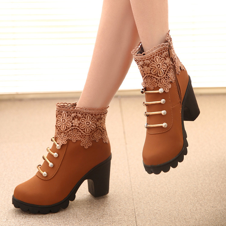 New 2017 fashion female warm ankle boots lace women boots snow boots and autumn winter women