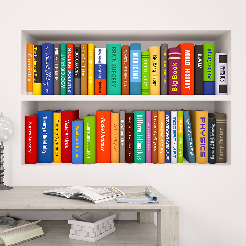 3d Effect Bookshelf Wall Stickers Office Study Room Decor Living Bedroom PVC Poster Mural Art DIY Home Decals