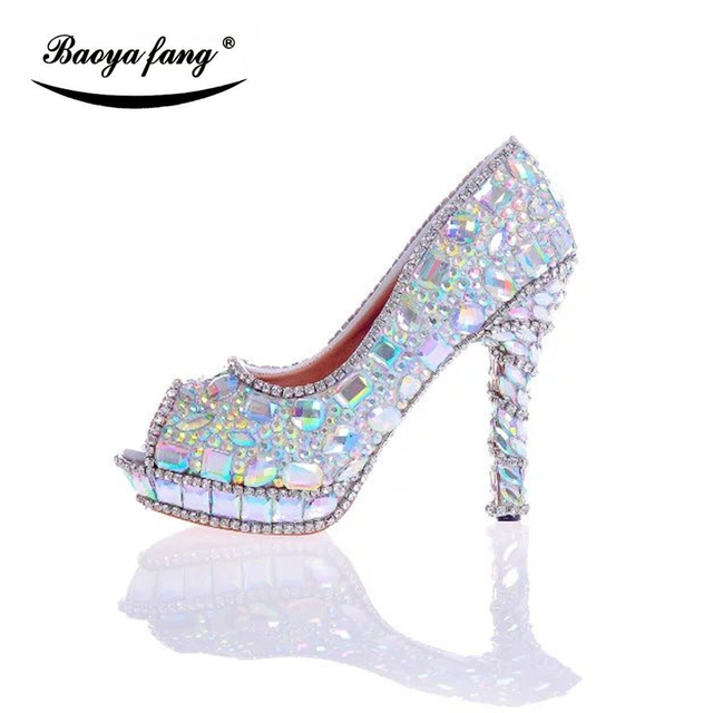 12cm Multicolor Crystal P Toe Women Wedding Shoes Summer Fish Fashion Woman High Heels
