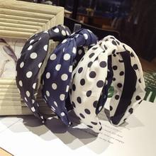Spring Summer Hair Accessories Women Bow Polka Dot Hairbands Head Wrap Korean Cotton Fabric boho turban Headband hair bands