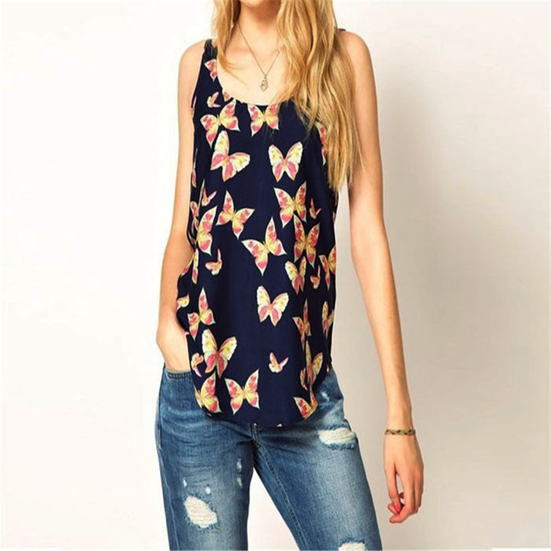 snowshine YLW  1PC Women Butterfly Print Sleeveless Chiffon Tank Top Shirts Crew Vest Hot Sale Shipping Free S/M/L Women Tops