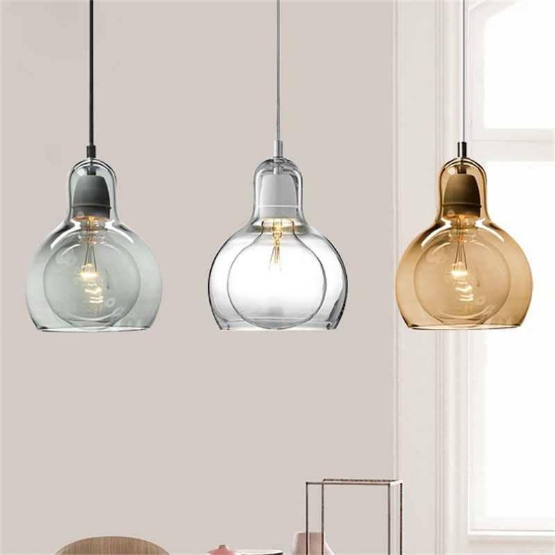 Modern Small Glass Pendant Light Clear Glass Lampshade Nordic Calabash Hanging Lamp For Bedside Dining Room Bar Restaurant