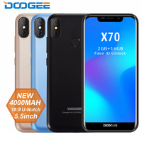 New DOOGEE X70 Smartphone Face 5.5'' U Notch 19:9 MTK6580 Quad Core 2GB RAM 16GB ROM Dual Camera 8.0MP Android 8.1 4000mAh phone