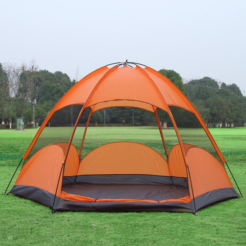 Outdoor camping tent Double-layer 5 people camping tent tourism rain and wind resistant mesh multi-person tent Outdoor camping tent Double-layer 5 people camping tent tourism rain and wind resistant mesh multi-person tent