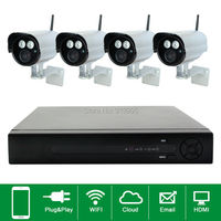 Plug And Play 4CH Wireless NVR CCTV System 720P IP Camera WIFI Waterproof IR 50M Night