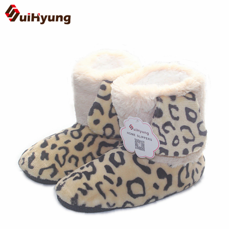 Suihyung Winter Warm Plush Women Indoor Shoes Home Slippers Faux Fur Leopard Ears Bota Female Soft Bottom Bedroom Floor Slippers tolaitoe autumn winter animals fox household slippers soft soles floor with indoor slippers plush home slippers