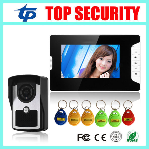 7 inch video door phone with RFID card door access control reader villa 1 door standalone access control video intercom system 7 inch password id card video door phone home access control system wired video intercome door bell