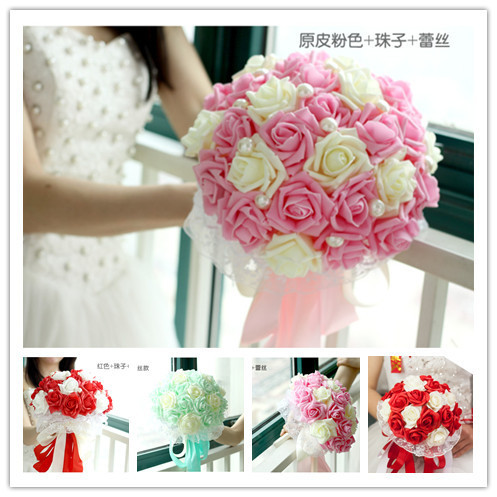 Невеста с цветами в руках жемчужные цветы новое поступление романтическая свадьба красочные невеста ' ы букет кружева невесты букеты свадебные аксессуары