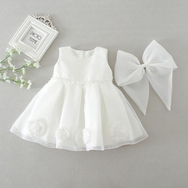 Sun Moon Kids Baby Girl Dress 2017 New White Sleeveless Floral  Infant Baptism Dress Bow Fashion Clothing Baby Dresses Girl
