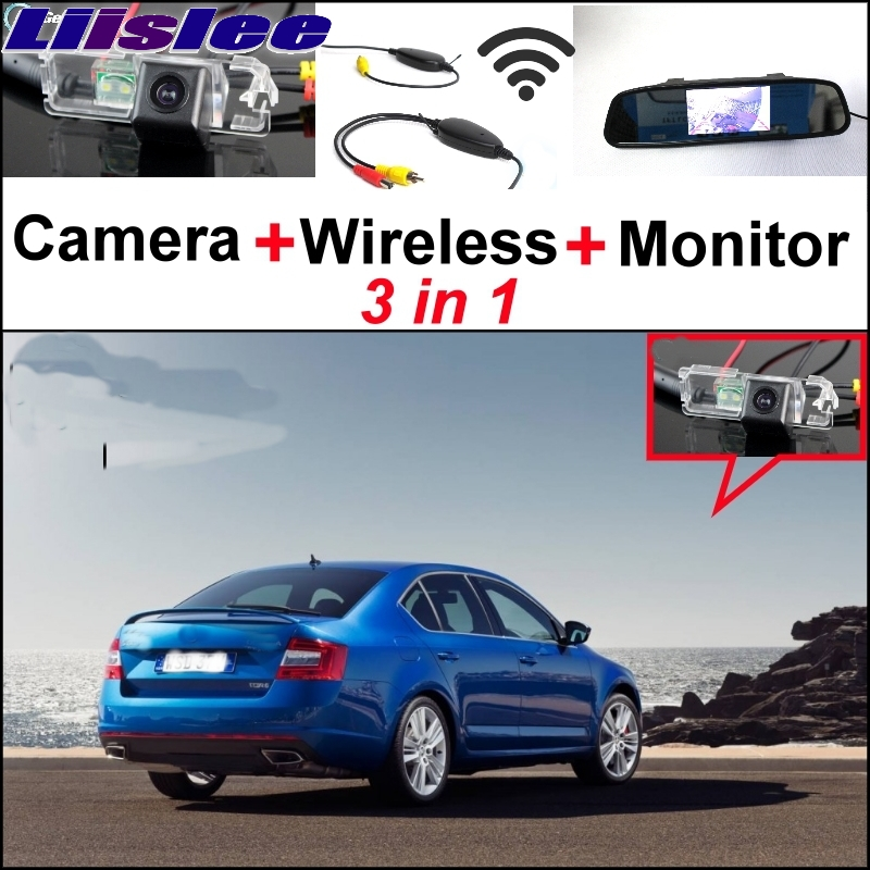 Liislee For Skoda Octavia 5E MK3 3 in1 Special Rear View Camera  Wireless Receiver + Mirror Monitor Easy DIY Back Parking System car usb sd aux adapter digital music changer mp3 converter for skoda octavia 2007 2011 fits select oem radios