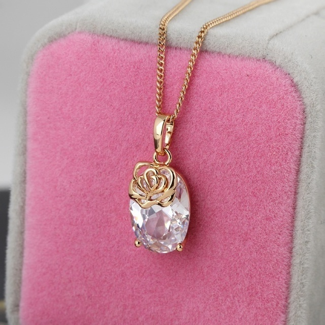 Fashion accessories floral crystal necklace woman diamante pendant fashion accessories floral crystal necklace woman diamante pendant chain jewelry gold filled sl aloadofball Images