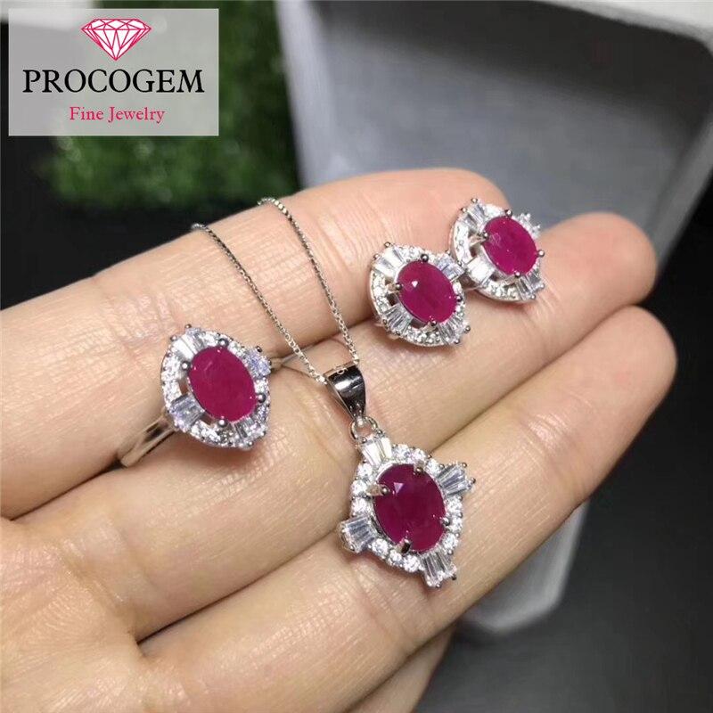 Ensembles de bijoux classiques rubis naturel pour femmes 4.7ct 100% véritables pierres précieuses de mariage bijoux fins ensembles 925 argent Sterling #306