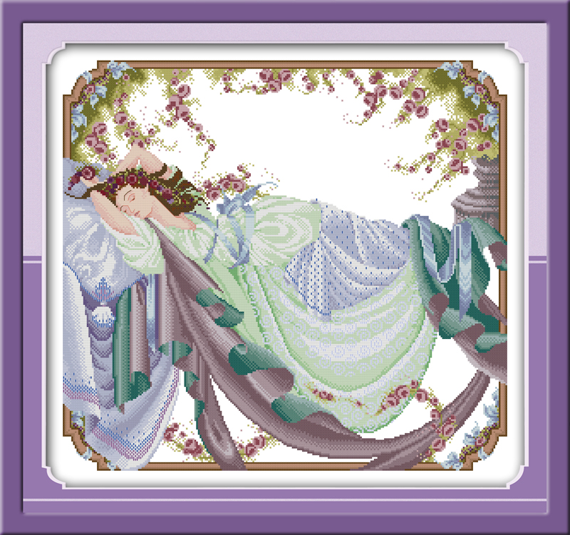 Sleeping Beauty(1) cross stitch kit people 18ct 14ct 11ct count print canvas stitches embroidery DIY handmade needlework