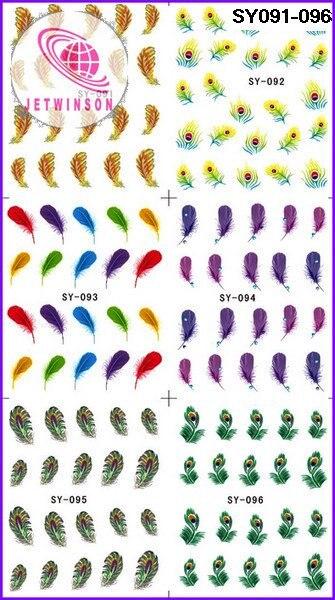 5 шт./партия перьевые накладные ногти художественные татуировки для ногтей наклейки для ногтей Фольга средняя водная наклейка