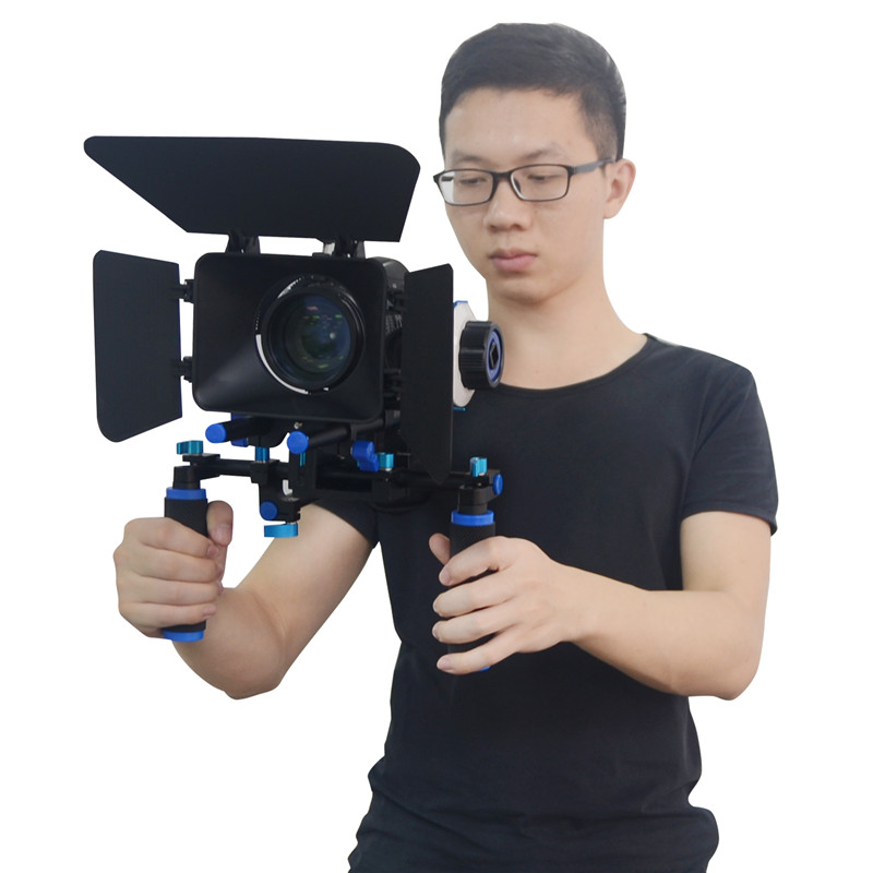 Mcoplus DSLR Camera Shoulder Rig Set Movie Kit + Shoulder Mount Follow Focus and Matte Box for DSLR Cameras DV Video Camcorders premium dslr rig movie flim kit shoulder mount support pad holder photo studio accessories for canon nikon video camcorder dv
