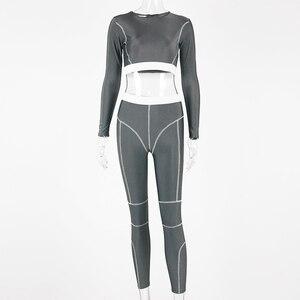 Image 5 - Hugcitar lange mouw streep patchwork sexy crop tops leggings 2 twee stukken set 2019 herfst winter vrouwen streetwear trainingspakken