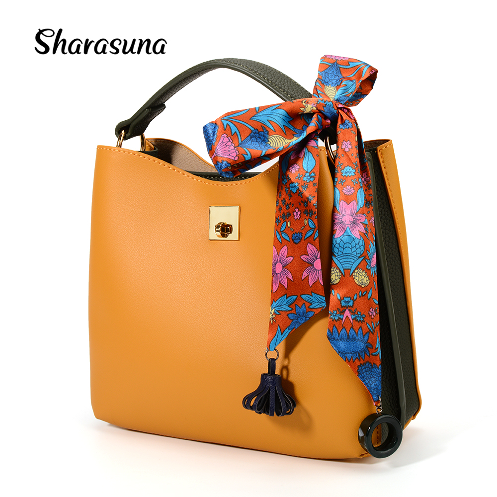 все цены на White Yellow Color Bucket Bag with Scarf New Korean Fashion All-match Women PU Leather Handbgs Crossbody Shoulder Messenger Bags онлайн