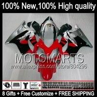Красный серебристый Комбинезоны для Honda CBR600F4i 04 05 06 07 CBR 600F4i 23JK11 CBR600 F4i 2004 2005 2006 2007 обтекатели обтекателя красный черный