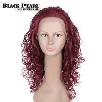 Black Pearl Long Red Curly Hair Lace Front Human Hair Wigs For Black Women African American