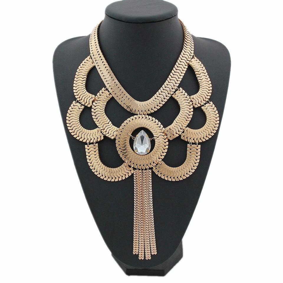 CirGen mode femmes fait à la main gothique couleur or serpent chaîne Choker déclaration cristal pendentif gland Bijoux collier Bijoux, D91