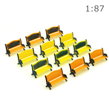Park chair model HO scale 1:87 architecture Parking Street Seats Bench Chair for railway train layout Model toy diorama train 50pcs lot architecture mini plastic model 2 15cm color tree for ho train layout railway layout model building