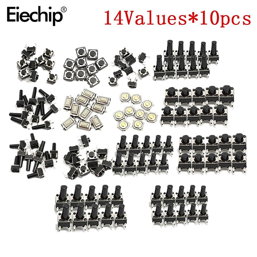 140 pièces/lot 14types momentané Tact Tactile bouton poussoir interrupteur SMD assortiment Kit ensemble vie 100000 fois Promotion prix