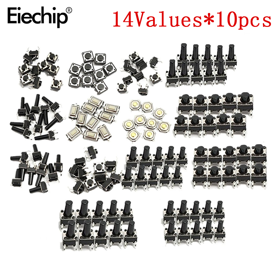 140pcs/lot 14types Momentary Tact Tactile Push Button Switch SMD Assortment Kit Set Life 100000 Times Promotion Price