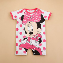 Short Sleeved Cartoon Rompers for Baby Girls and Boys