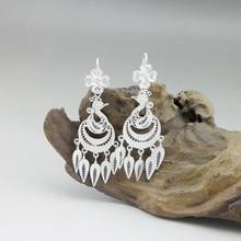 Peacock 999 Sterling Silver Earrings For Women Drop Tassl Earrings Female Ethnic Vintage Handmade Luxury Brand Fine Jewelry
