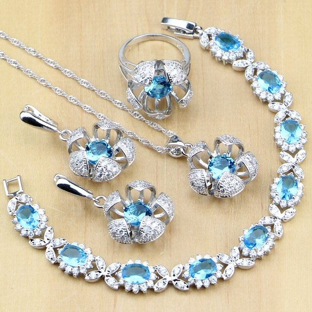 Hyperbole Blue Zircon Stone White CZ 925 Sterling Silver Jewelry Sets For Women
